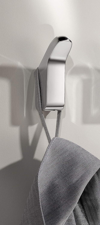 KEUCO Handtuchhaken aus Metall hochglanz verchromt rund für Badezimmer und Gäste Toilette Wandhaken für Handtücher und Bademäntel Moll