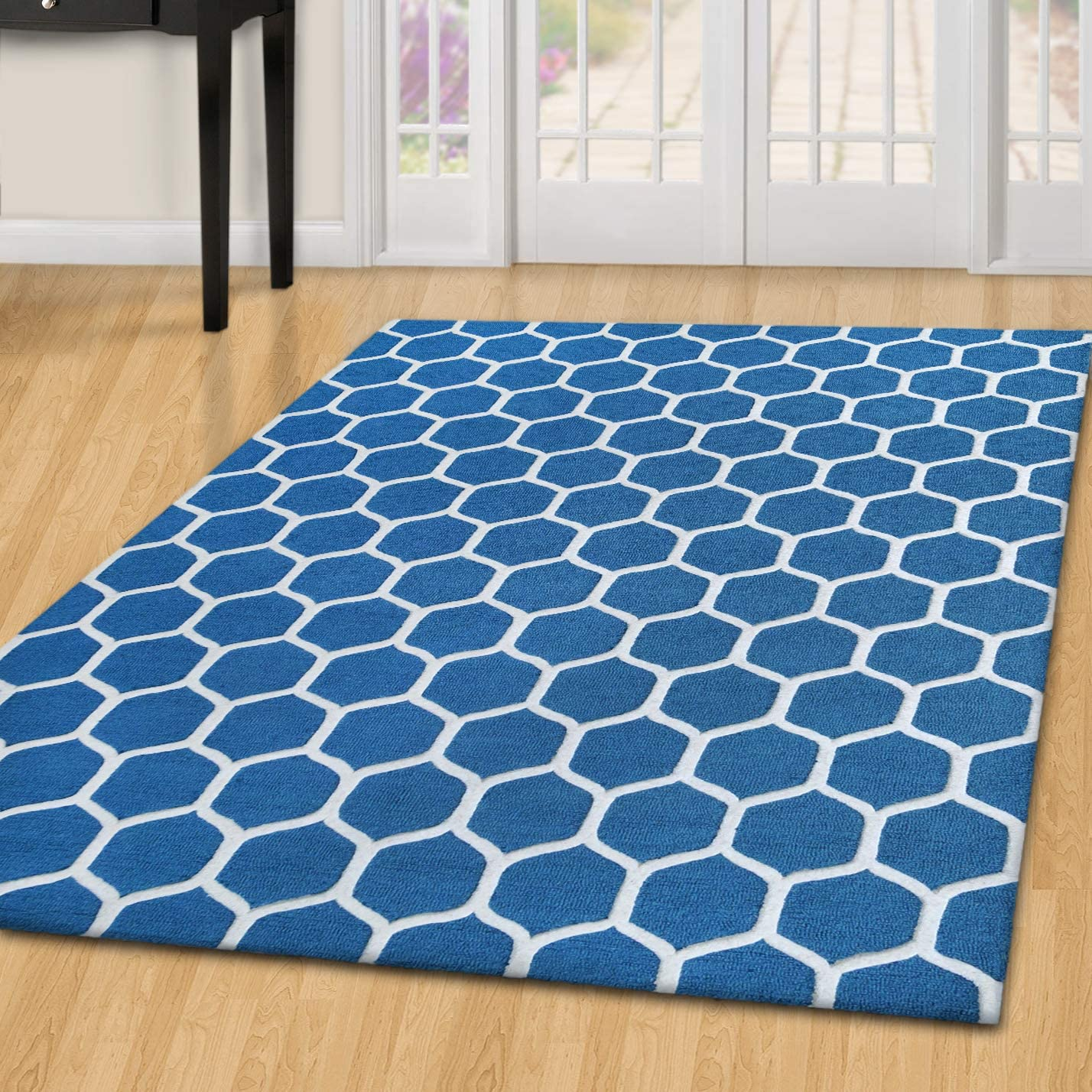 SUPERIOR 5' x 8' Honey Comb Hand-Tufed Wool Teal/Ivory Area Rug