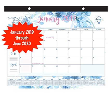 """Desk Calendar 2019-2020: Large Monthly Calendar Planner 21""""x17"""" 18-Month Calendar from January 2019 - June 2020 can be Used as Wall Calendar or Desk ..."""