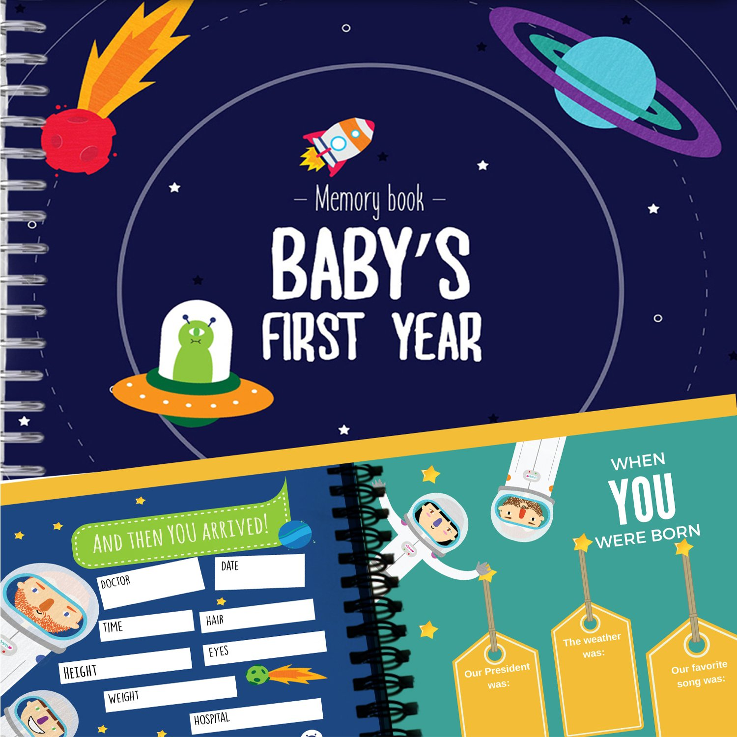 Astronaut Baby's First Year Memory Book | 12 Stickers Included | First year album with stickers and frames to add your pictures in a gorgeous way | Outer Space Edition | Unconditional Rosie SpaceBook