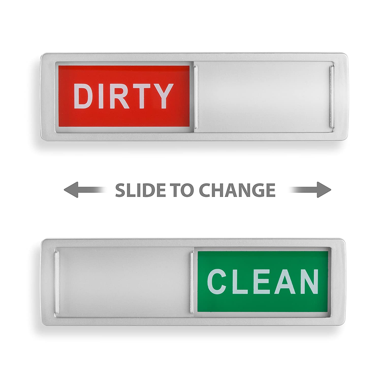 Clean Dirty Dishwasher Magnet - Non-Scratch Magnetic Silver Signage Indicator for Kitchen Dishes with Clear, Bold & Colored Text - Easy to Read & Slide for Changing Signs (silver)