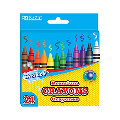 BAZIC 24 Color Washable Premium Crayons, Assorted Coloring Set, School Art Creative Gift for Kids Age 3+: Office Products
