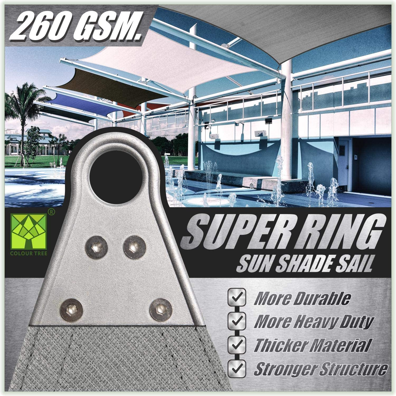 ColourTree 28' x 28' x 28' Grey Triangle Super Ring Sun Shade Sail Canopy Structure, Super Durable Heavy Duty, Reinforced Corners, Edges & 260 GSM Permeable Fabric - 5 Years Warranty