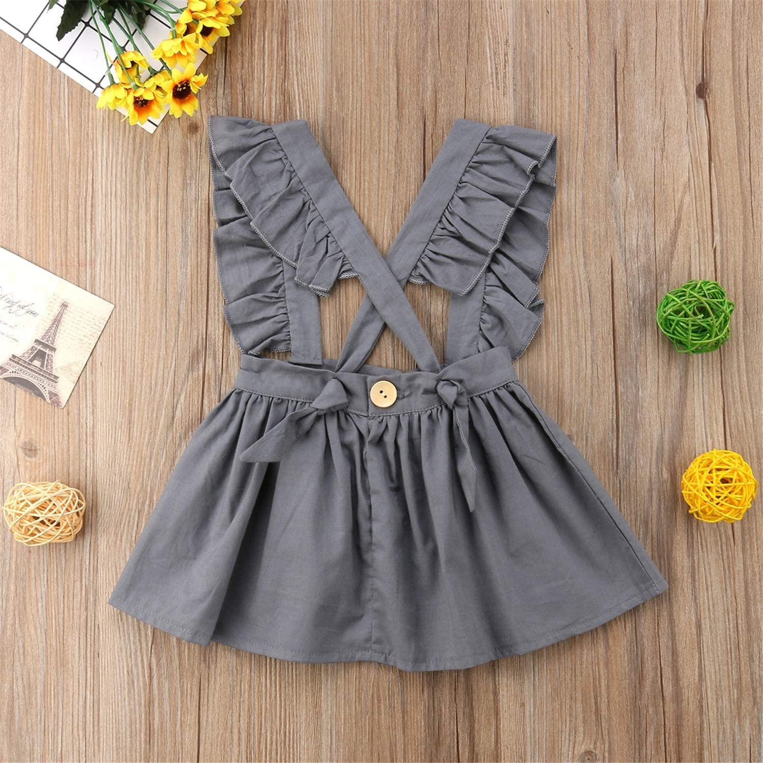 Cute Kid Baby Girls Cotton Solid Ruffle Cross Bandage Party Pageant Dress Sundress Clothes