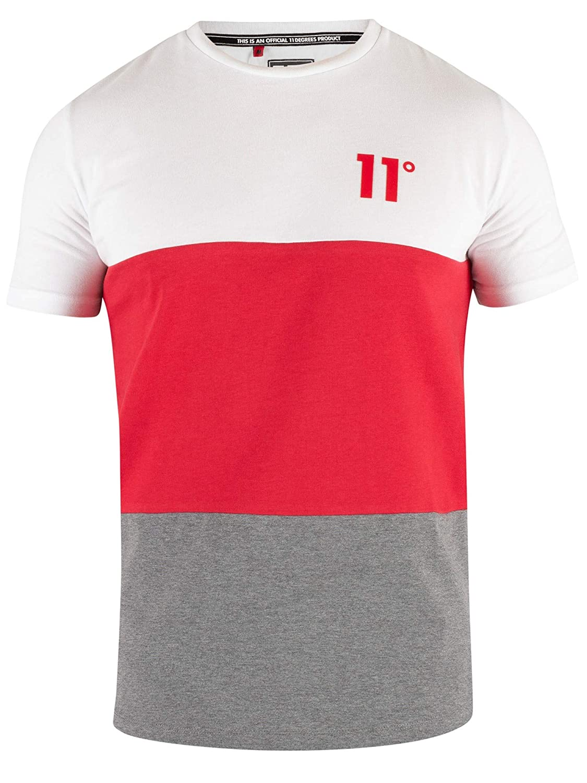 11 Degrees de los Hombres Camiseta Triple Panel, Multicolor, XL ...