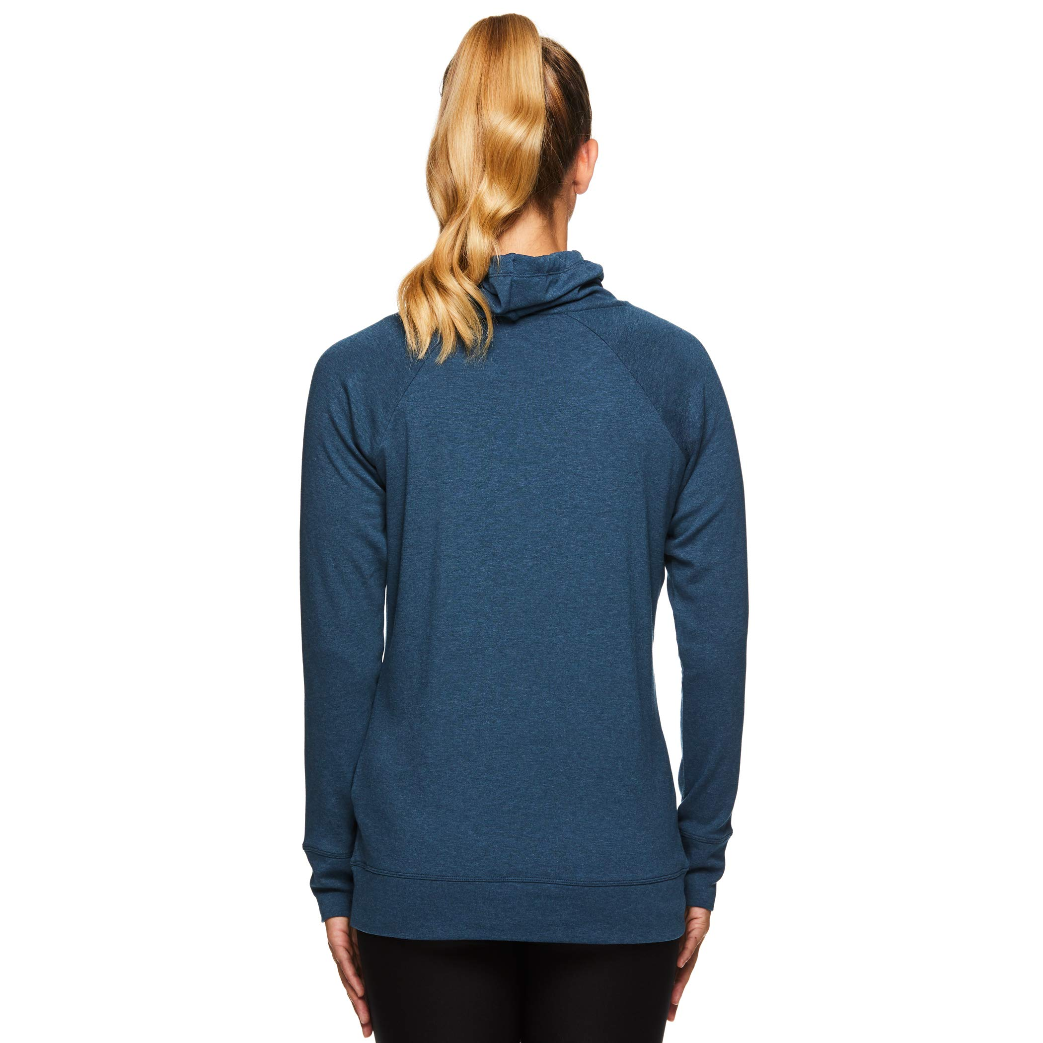 Gaiam Women's Pullover Hoodie Yoga Sweatshirt - Lightweight Long Sleeve Athleisure Sweater - Grace Moonlit Ocean Blue Heather, Large by Gaiam