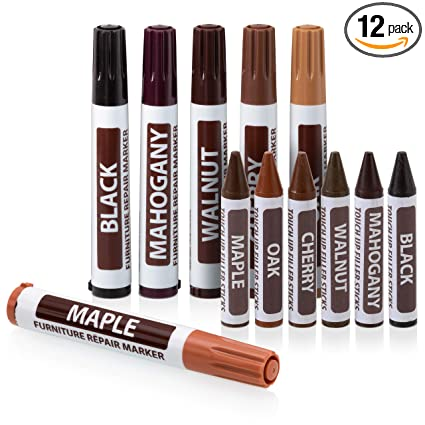 Magnificent Ram Pro Furniture Markers Touch Up Repair System 12Pc Scratch Restore Kit 6 Felt Tip Wood Markers 6 Wax Stick Crayons Colors Maple Oak Download Free Architecture Designs Barepgrimeyleaguecom