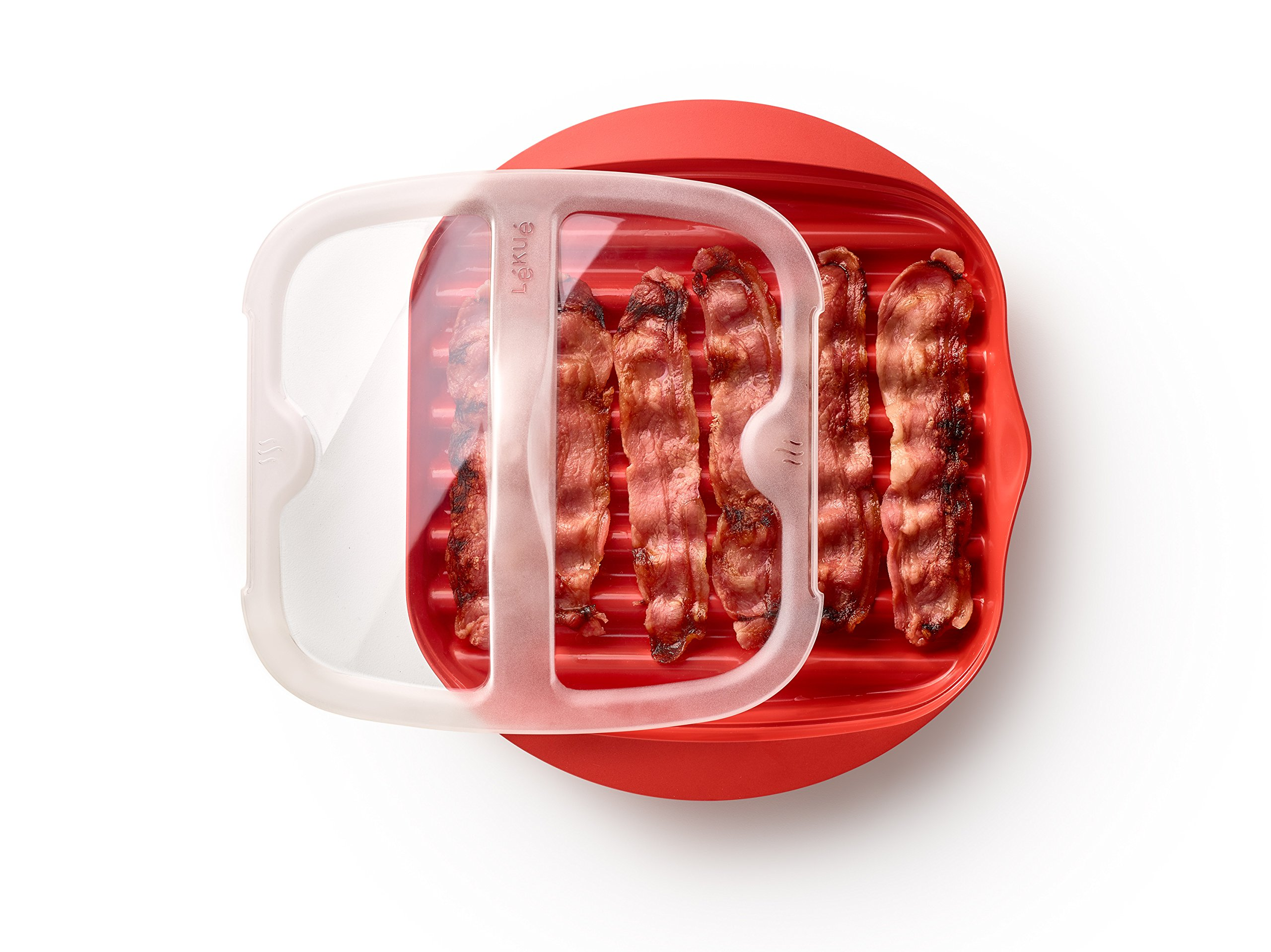 Lekue Microwave Bacon Maker/Cooker with Lid, 11.02'' L x 9.8'' W x 2.3'' H, Red by Lekue (Image #5)