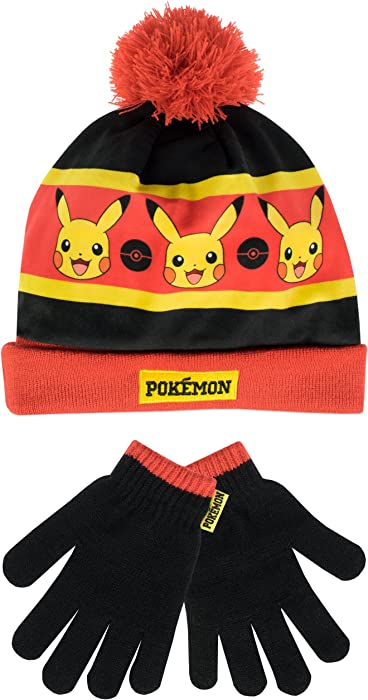 Amazon.com  Pokemon Boys Hat and Gloves Set Multicolored One Size ... 4ad0b44afe8