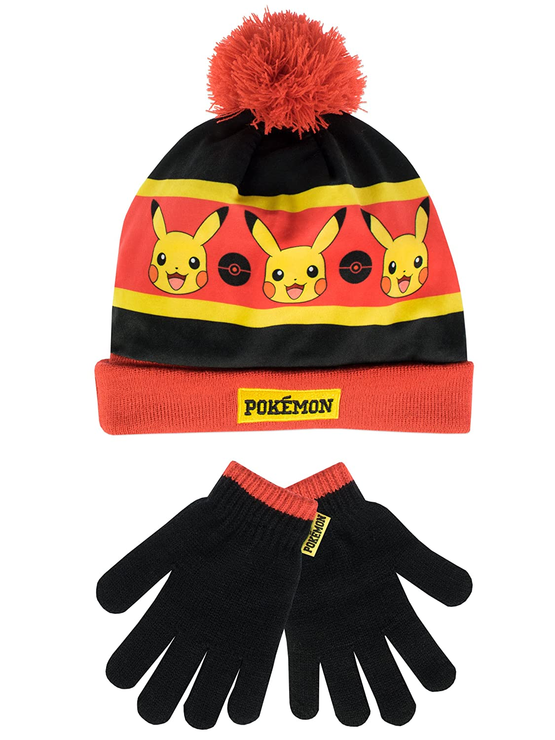 Pokemon Boys Pokemon Hat and Gloves Set Multicolored One Size