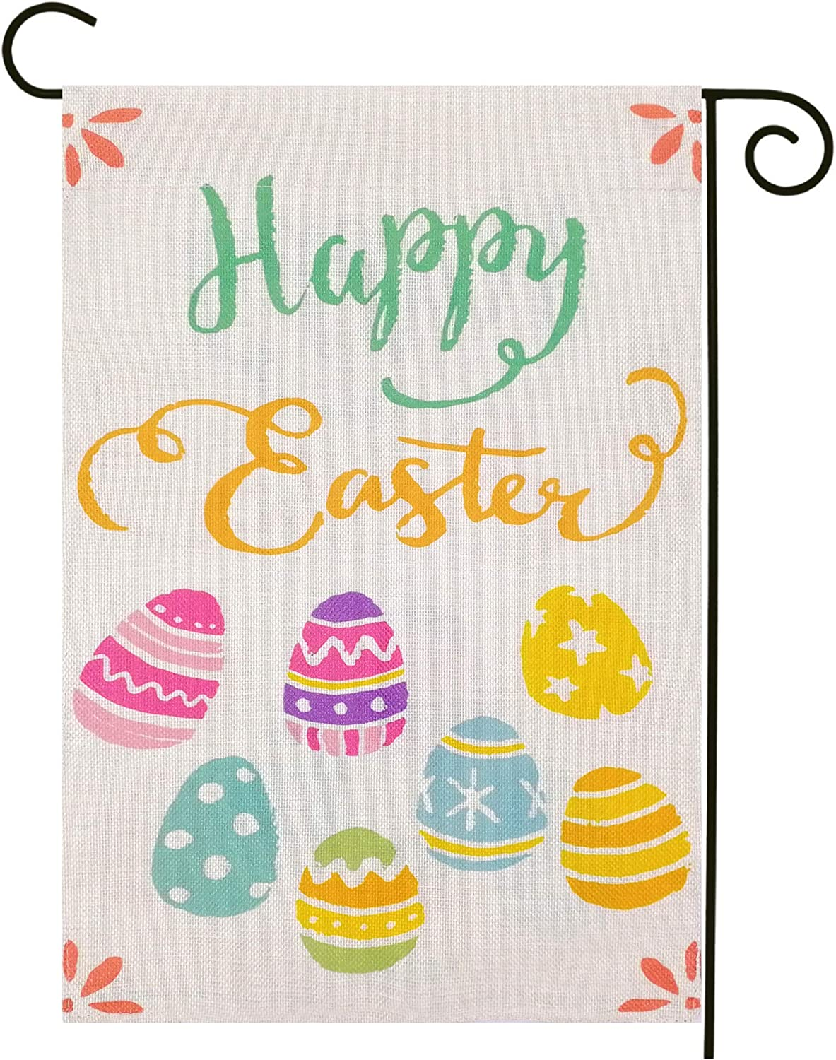 Arundeal 12 x 18 Inch Happy Easter Double Sided Colorful Eggs Outdoor Garden Flag