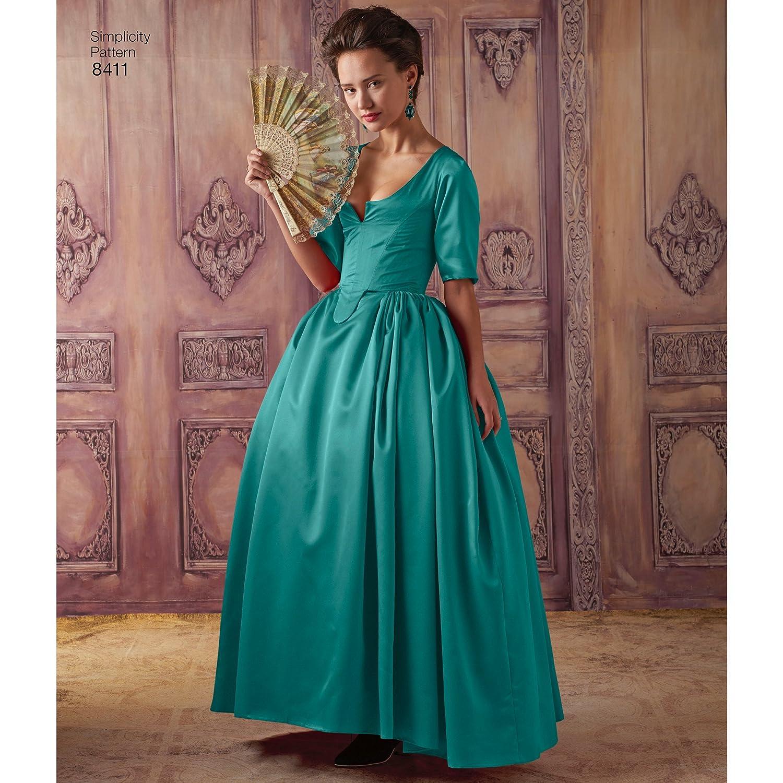 Simplicity Muster 8411 Damen-Kostüm aus dem 18. Jahrhundert, Papier ...
