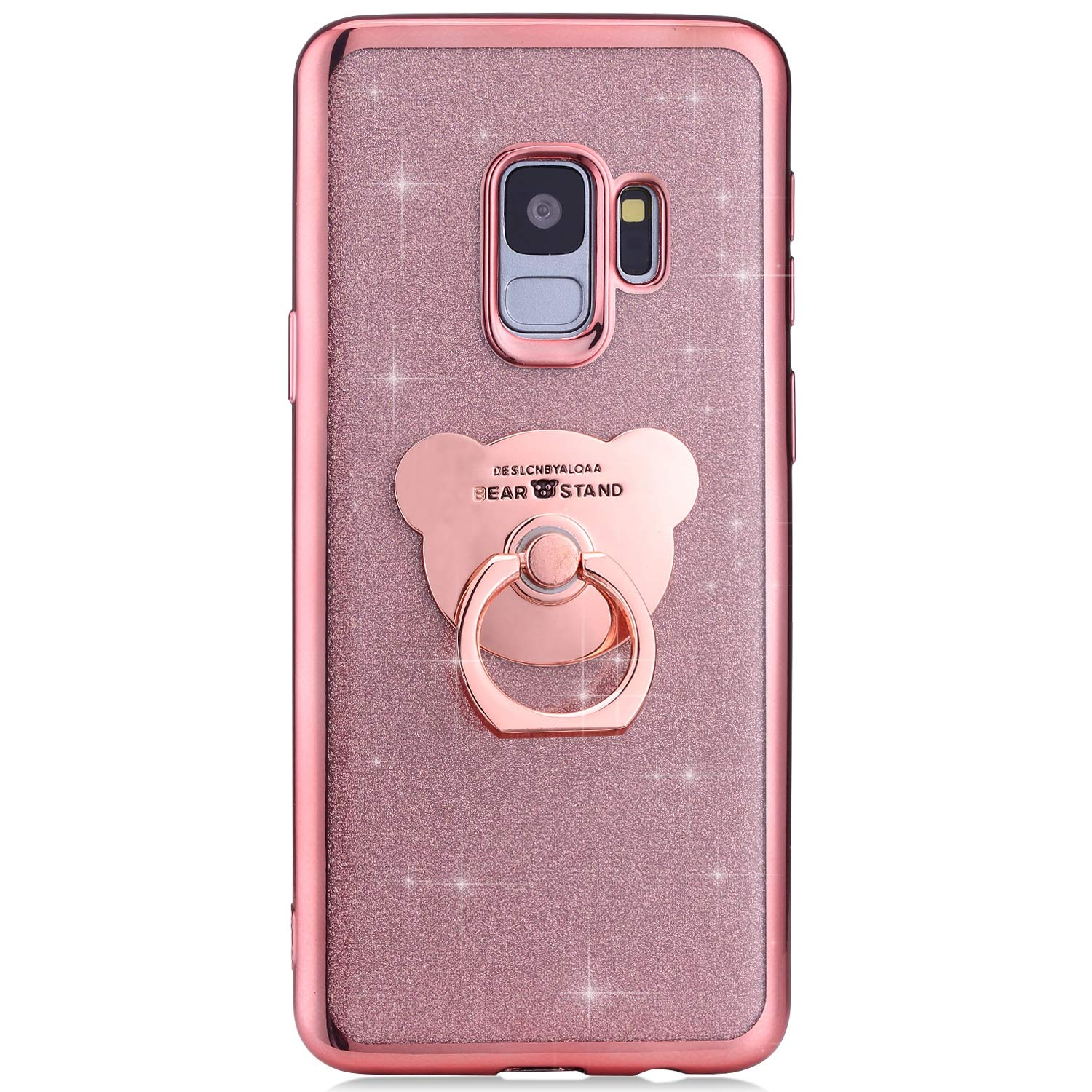 Ysimee Compatible with Samsung Galaxy S9 Cases,Bling Glitter Sparkle Ultra thin TPU Silicone Protective Covers with Finger Ring Stand Support Function Bumper,Gold