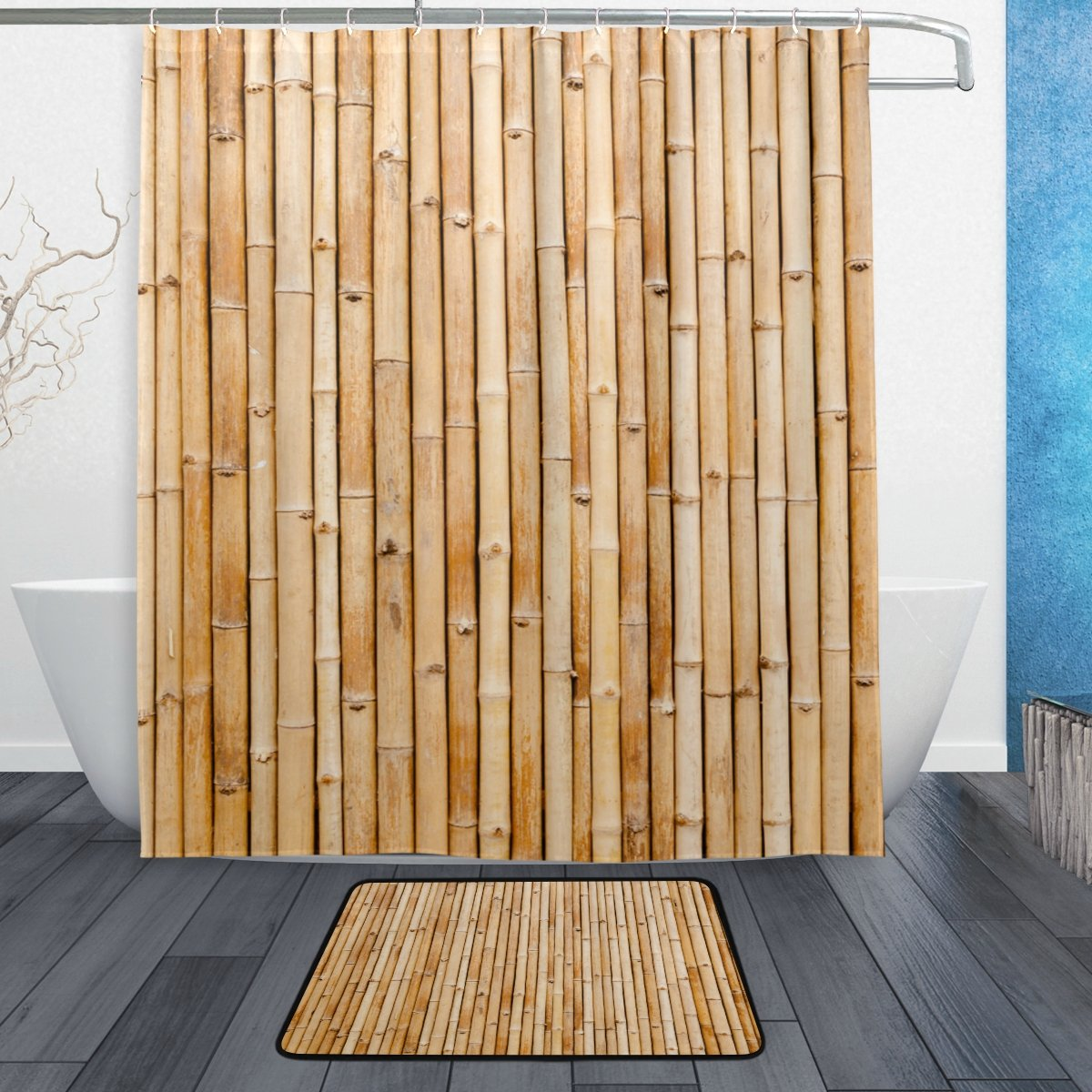 ALAZA Old Brown Tone Bamboo Plank Fence Shower Curtain Landscape Hipster Polyester Fabric Bathroom Curtain Set with Mats Rugs-12 Hooks