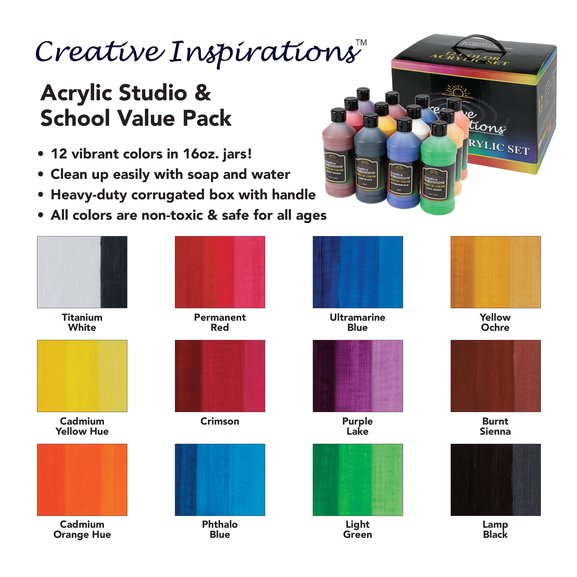 Creative Inspirations Artist Acrylic Paint Set of 12 Assorted Colors - 16 oz Bottles by Creative Inspirations