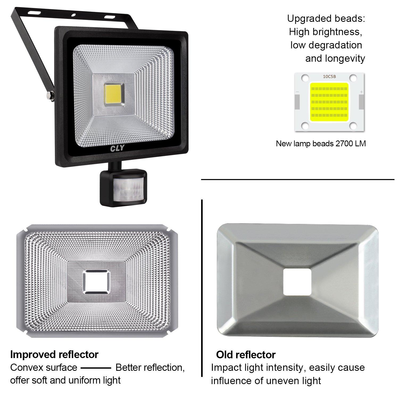 Foco con Sensor de Movimiento CLY 30W Foco led Exterior con Sensor Movimiento 2700LM 6000K Impermeable IP66 para Iluminación de Exterior y Seguridad: ...