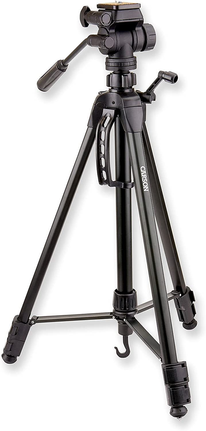 Spotting Scopes and More Carson TriForce Series 3-Way Fluid Panhead Aluminum Lightweight Tripods for Binoculars Cameras Monoculars
