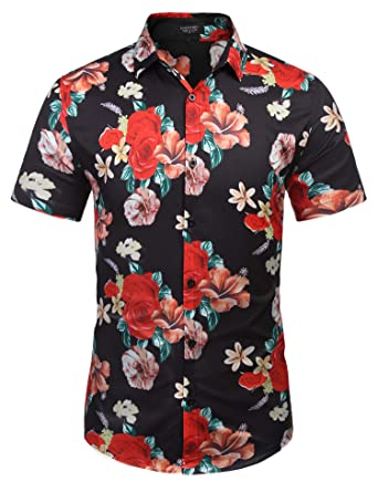 df81caee COOFANDY Men's Casual Hawaiian Shirt Short Sleeve Floral Printed Shirts  Button Down Aloha Shirt for Beach