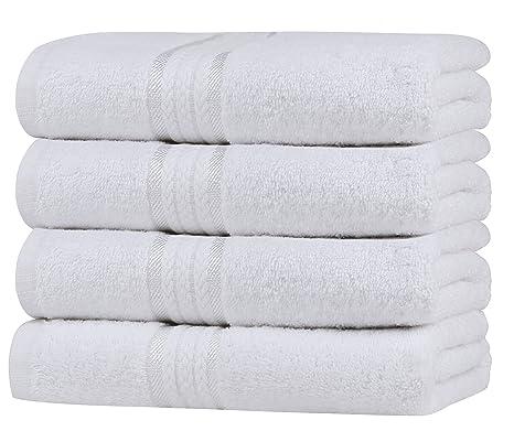 SweetNeedle Super Soft - Paquete de 4 toallas de mano 50x90 Blanco, 580 GSM - 100% algodón ...