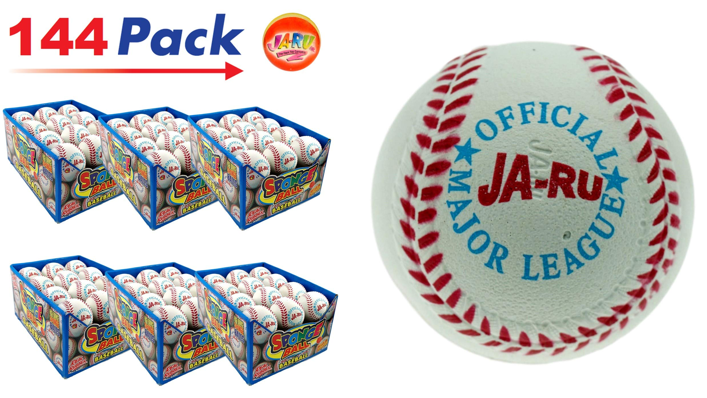Rubber Bouncy Ball Baseball Style (Pack of 144) by JA-RU 2.5'' Hi Bounce Same Like Pinky Balls for Play or Massage Therapy. Plus 1 Small Ball. #987-144p by JaRu