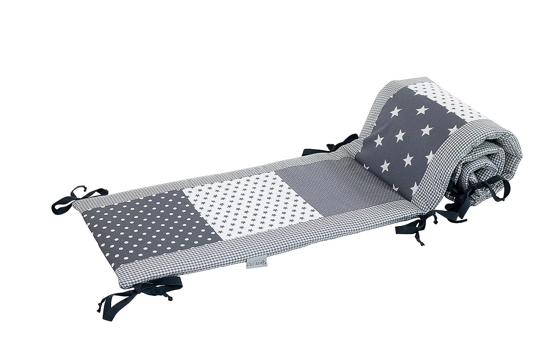 ULLENBOOM /® Nestchen Graue Sterne 180x30 cm Baby Bettnestchen, Bettumrandung f/ür 120x60 cm Babybett - Kopfbereich, Motiv: Punkte, Sterne