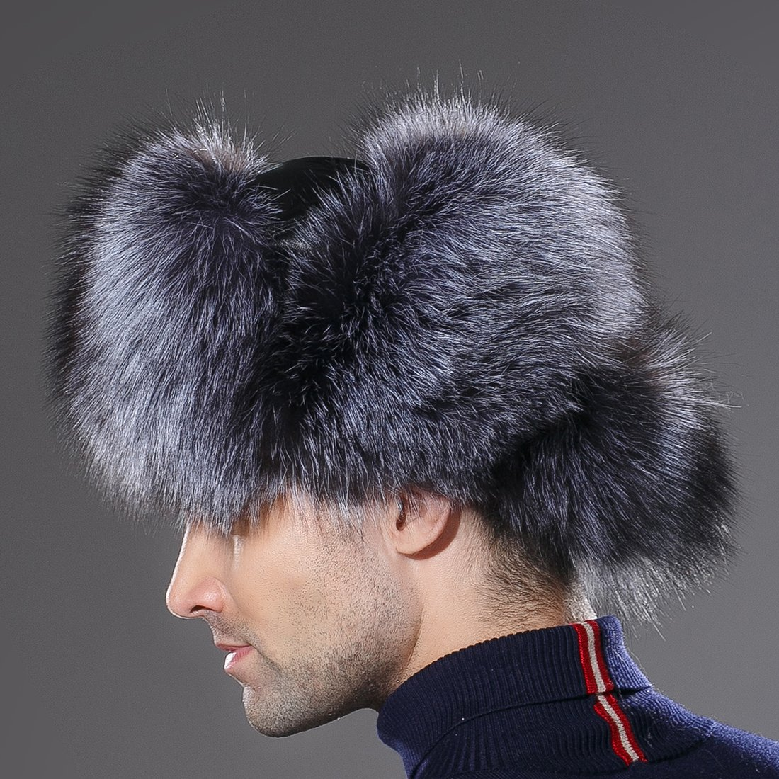 URSFUR Winter Mens Russian Ushanka Hat Real Leather & Silver Fox Fur Trapper Cap by URSFUR (Image #6)