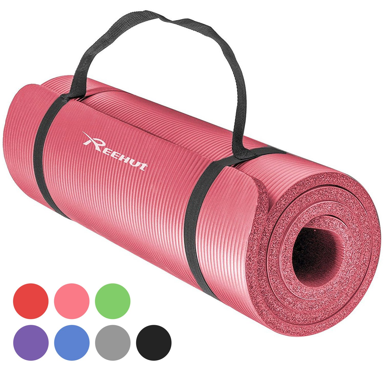 REEHUT Colchoneta de Yoga de NBR de Alta Densidad y Extra Gruesa de 12mm Diseñada para Pilates, Fitness y Entrenamiento - con Correa de Hombro 180cm x 61cm product image
