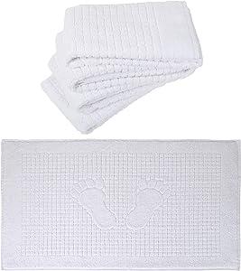 Turkish Home White Bath Mat Set of 4 Bathroom Floor Towel 100% Cotton Washable Mat Thin Long 18 X 34 Inches