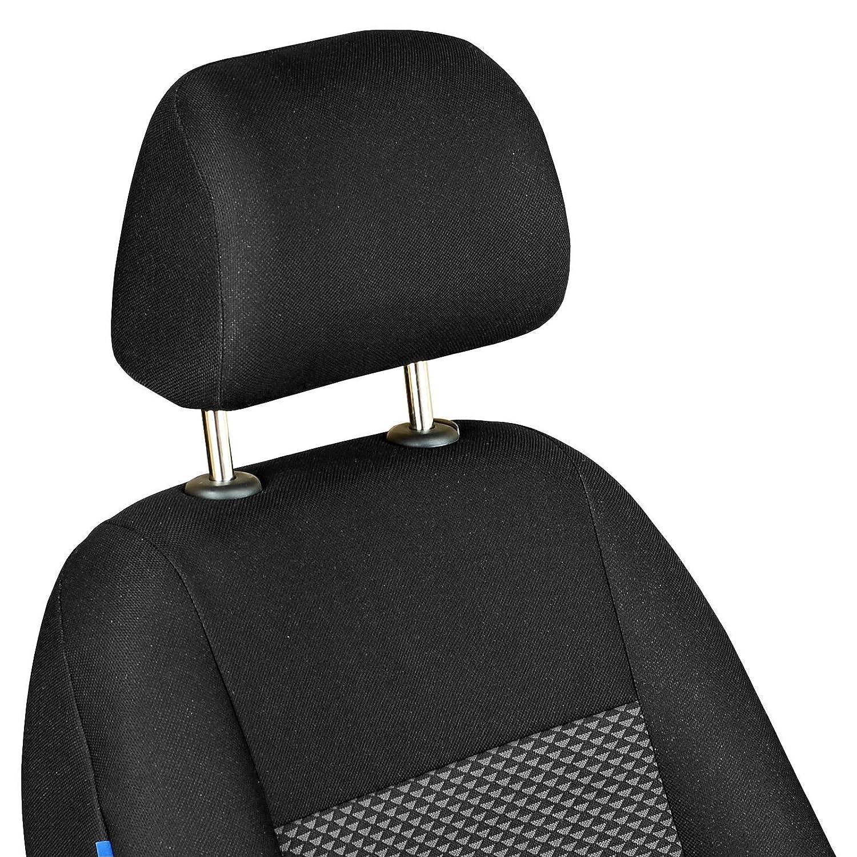 f/ür Fahrer und Beifahrer Farbe Premium Schwarz-graue Dreiecke Optimum Zakschneider Panda Vorne Sitzbez/üge