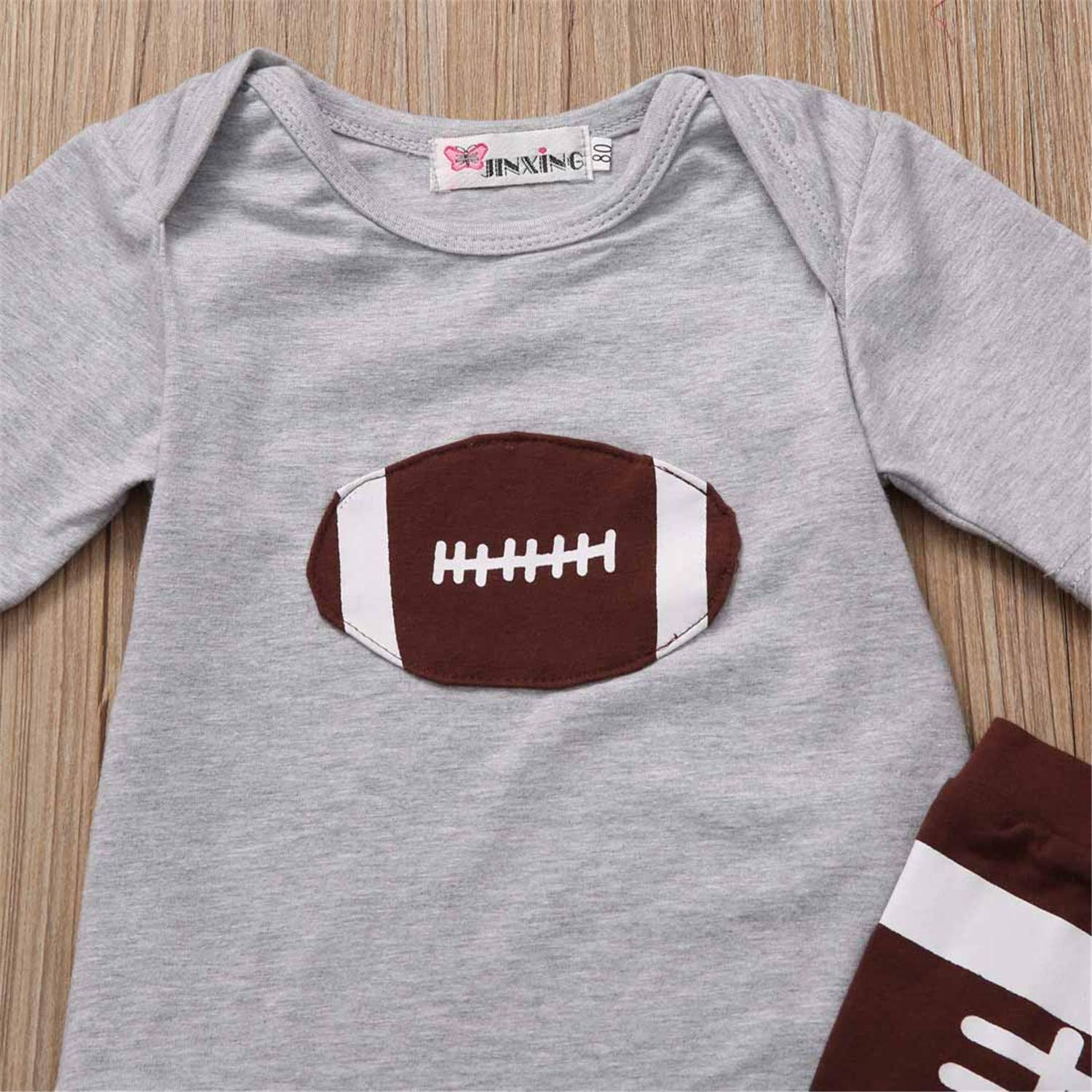 Fashion New 2PCS New Newborn Kids Baby Boys Girls Football Print Clothes Tops Short Sleeve T-Shirt Leggings Outfits Set