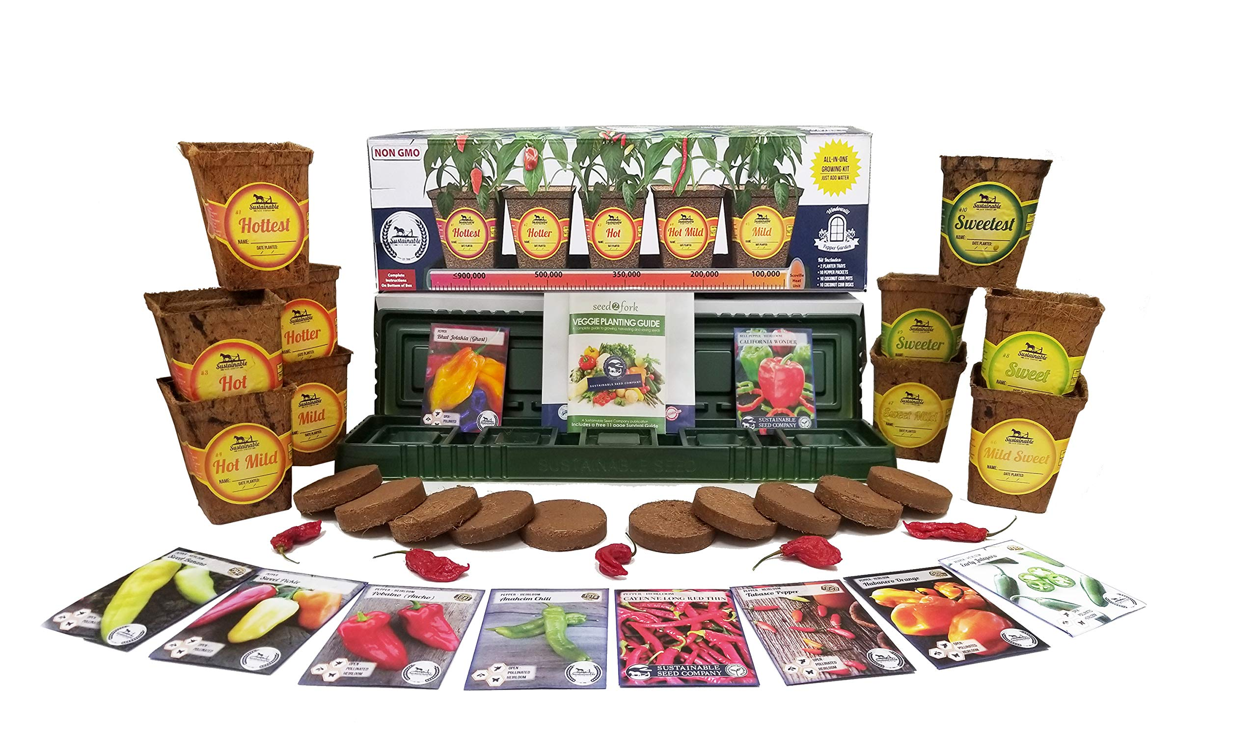 Windowsill Pepper Garden Kit, Pepper Planter Comes Complete with a 10 Variety Non GMO Heirloom Pepper Seed Collection & Pepper Pots by Sustainable Seed Company (Image #1)