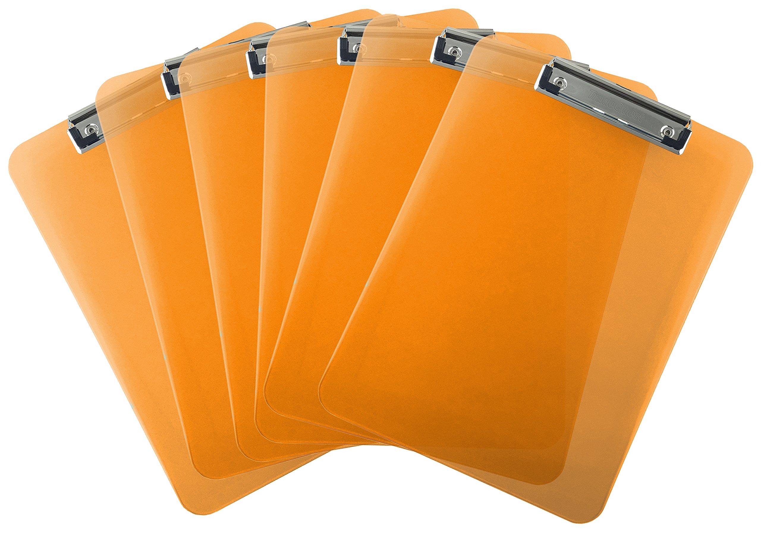 Trade Quest Plastic Clipboard Transparent Color Letter Size Low Profile Clip (Pack of 6) (Orange)