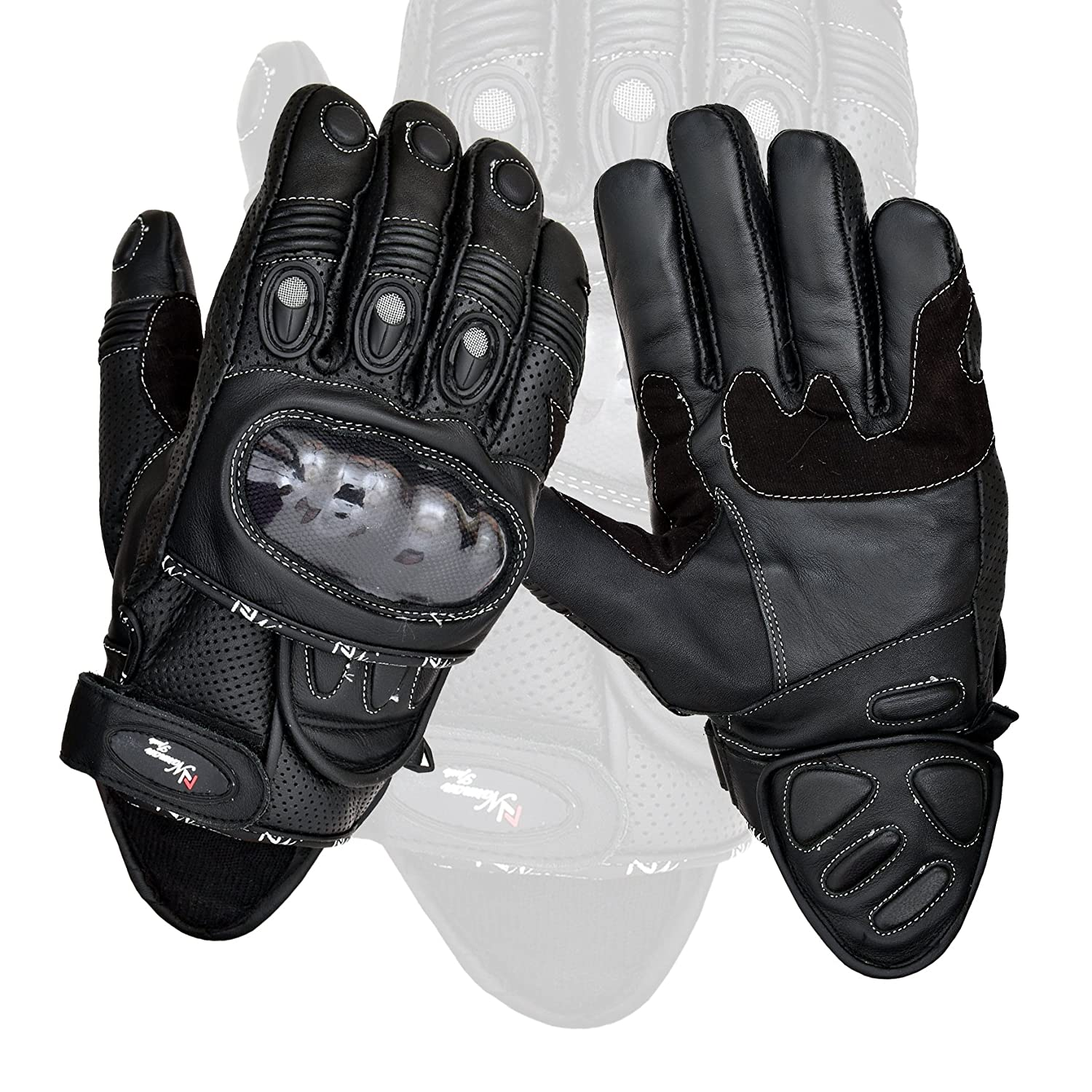 Black Short Leather Knuckle Protection Motorbike Motorcycle Gloves (L)