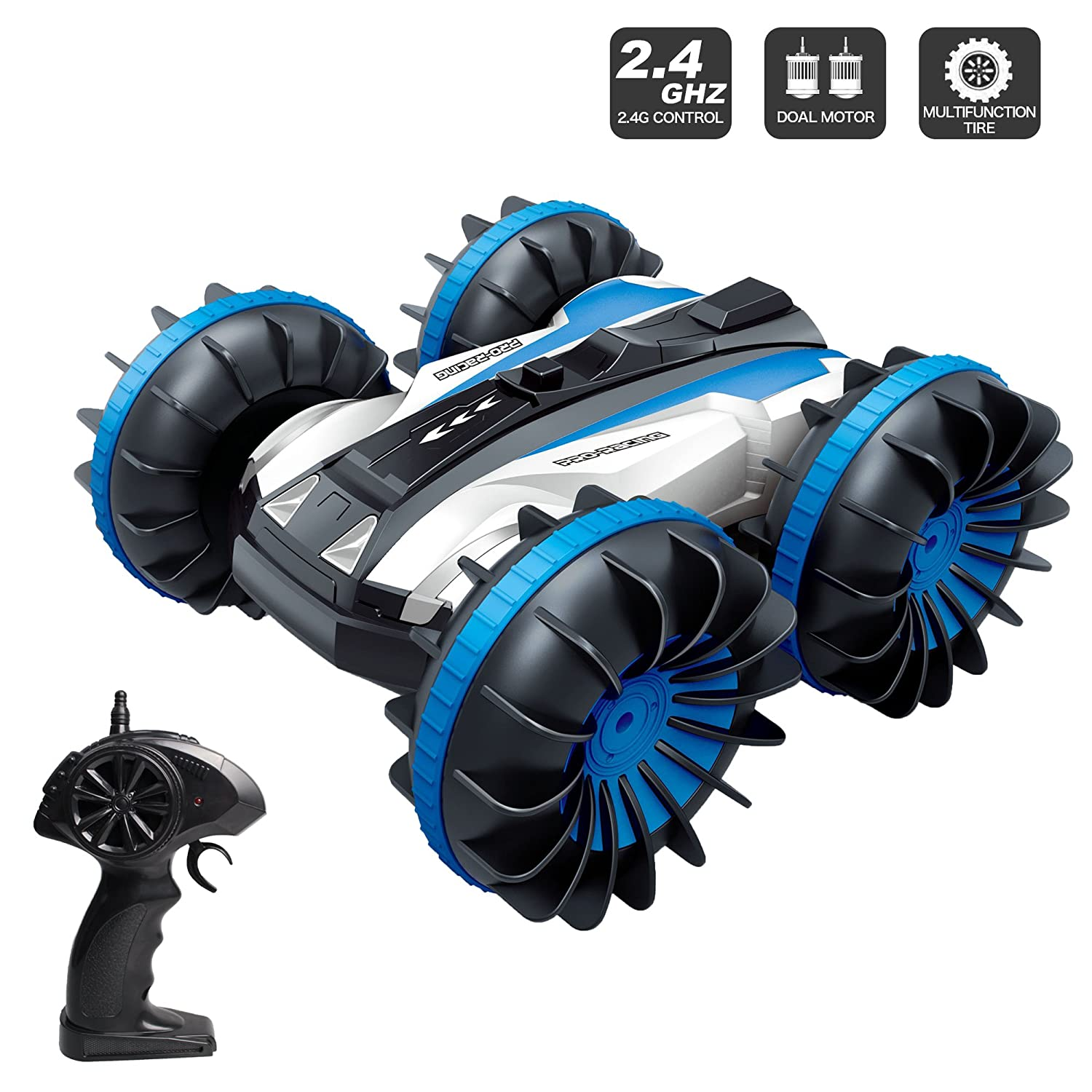 JIECAN 2.4Ghz 4WD Water and Land Amphibious Remote Control Waterproof Electric Stunt Land Car Toy Monster Boat Truck with Double-Sided Rotate, 360 Degree Spinning and Flips - Top 6 Amazing Gadgets