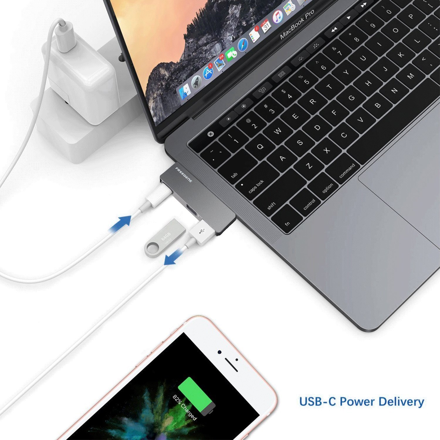 USB Type-C HUB Adapter - Aluminum Pass Through Charging Type-c Hub with 40Gbs Thunderbolt 3, USB 3.0 Port, USB 2.0 Port for New 13'' or 15'' MacBook Pro 2016 and 2017 by OneOdio FREEGENE (Space Grey) by OneOdio (Image #1)