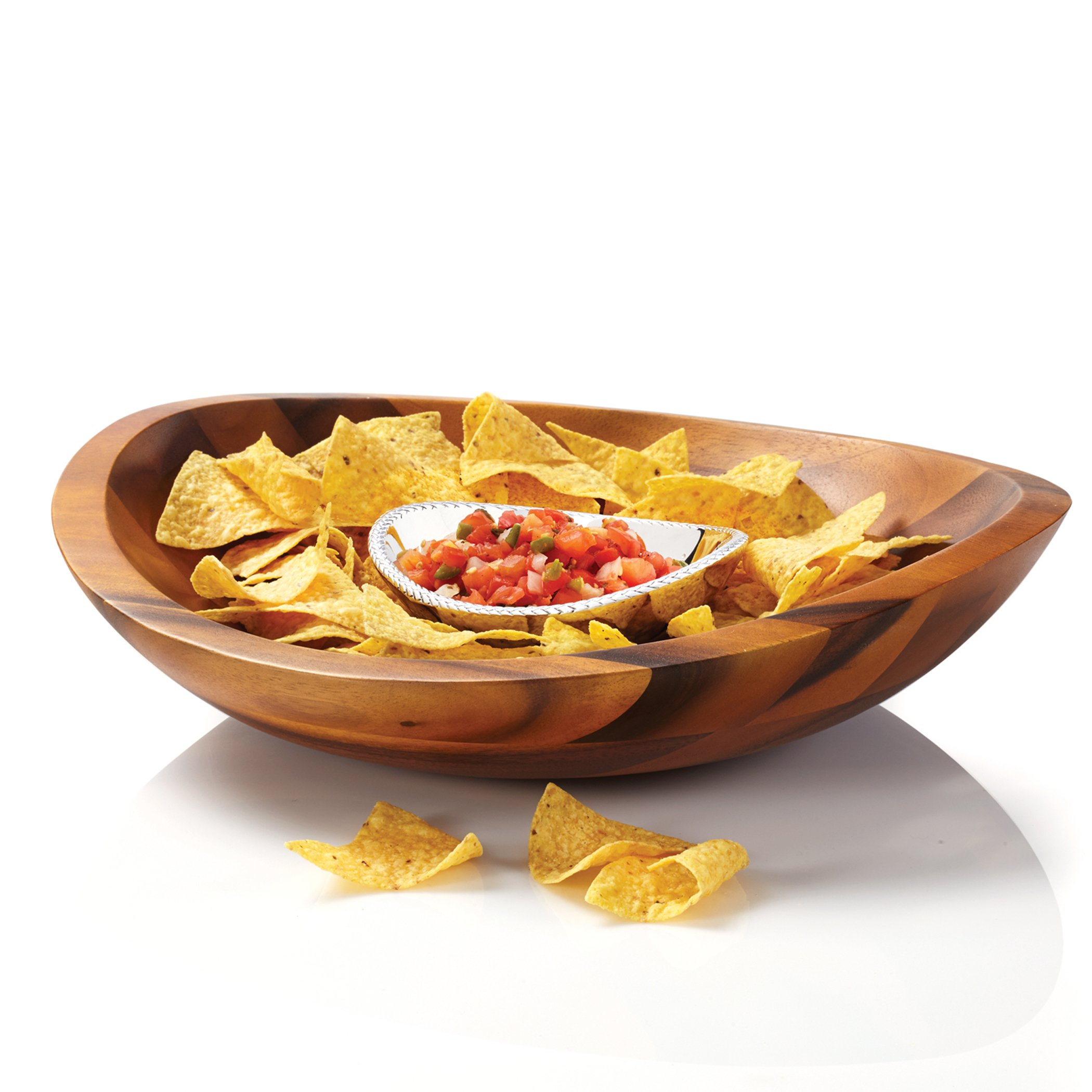 Nambe Braid Wood and Metal Chip and Dip Bowl Serving Set, MT0634 by Nambé (Image #2)