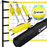 Patiassy Outdoor Portable Volleyball Net Set System - Quick & Easy Setup Adjustable Height Steel Poles, PU Volleyball with Pu