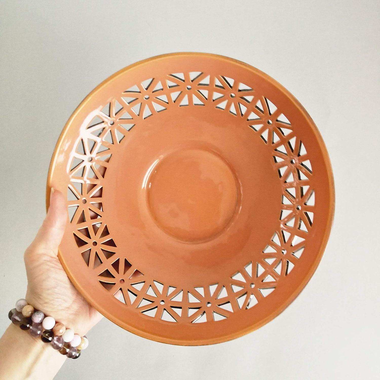 Burnt Orange Decor Ceramic Plate, Handmade Ceramic Fruit Bowl Centerpiece