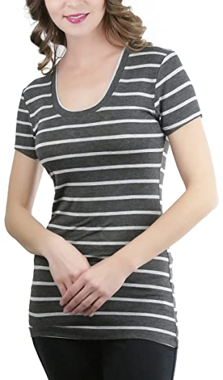 997954ad3 ToBeInStyle Women's Striped S.S. Scoop Neck Tee - Charcoal/H Grey - Small