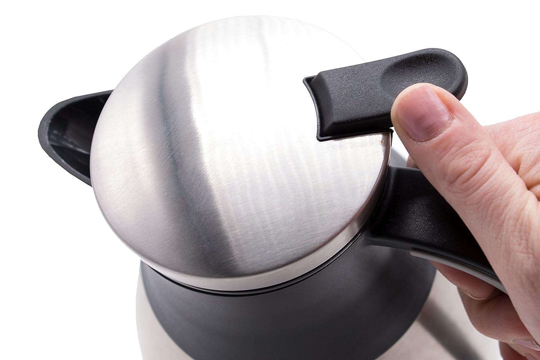 """in acciaio inox con manico e coperchio nero 1L ZOLLNER24 caraffa termica ca serie /""""Iso-Soft/"""""""