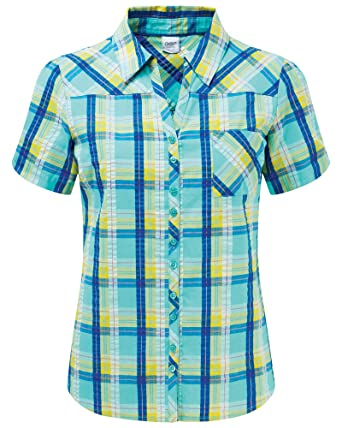 4c812e5e18b Cotton Traders Womens Ladies Womens Ladies Short Sleeve Seersucker Blouse  Top Shirt Size 26 Turquoise Check