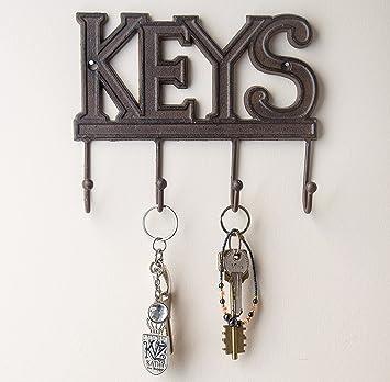 Key Holder - Keys - Wall Mounted Key Hook - Rustic Western Cast Iron Key  Hanger