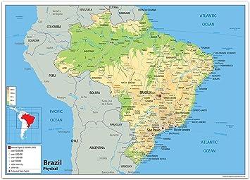 physische karte brasilien Physische Karte von Brasilien, laminiertes Papier [GA] A2 Size 42