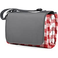 Picnic Time Outdoor Picnic Blanket Tote XL, Blue Stripe