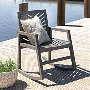 Walker Edison Furniture Company Outdoor Patio Wood Chevron Rocking Chair All Weather Backyard Conversation Garden Poolside Balcony, Set of 1, Grey