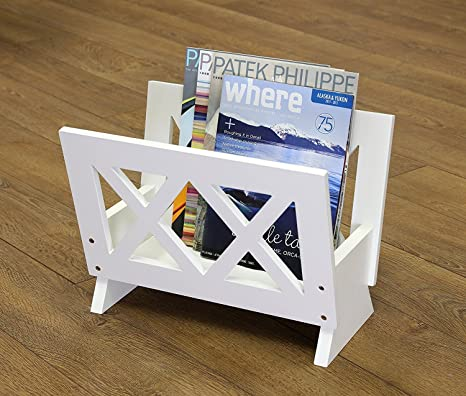 Frenchi Home Furnishing Contemporary Magazine Rack, White