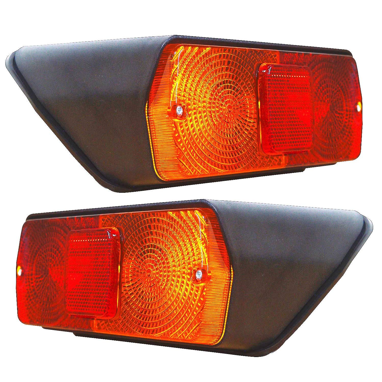 Juego de luces traseras con bombillas de 12 V y junta de goma, apto para MF Ford New Holland 10 TW 30 Series