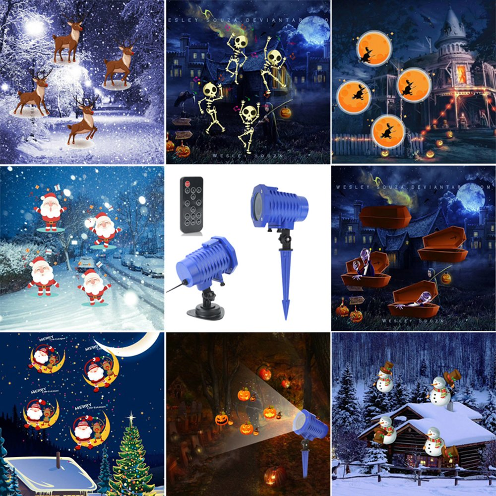 AVEKI Animated Projector Lights 8 Replaceable Slides Waterproof Landscape Projector with RF Remote Control for Halloween Christmas Party and Garden Decoration Christmas Projector Light Animal