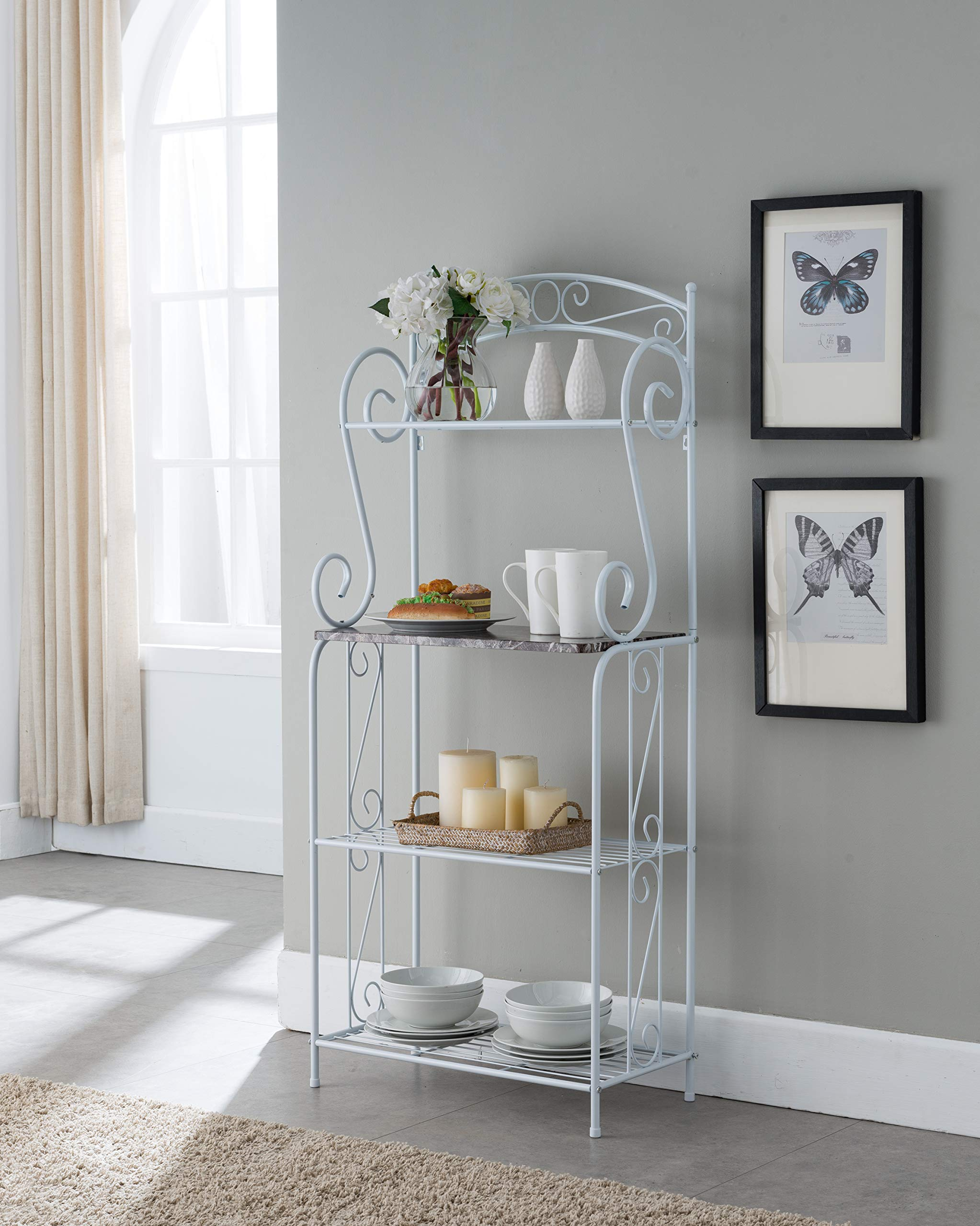 Kings Brand Furniture - Bulberry Metal Kitchen Storage Baker's Rack, White by Kings Brand Furniture