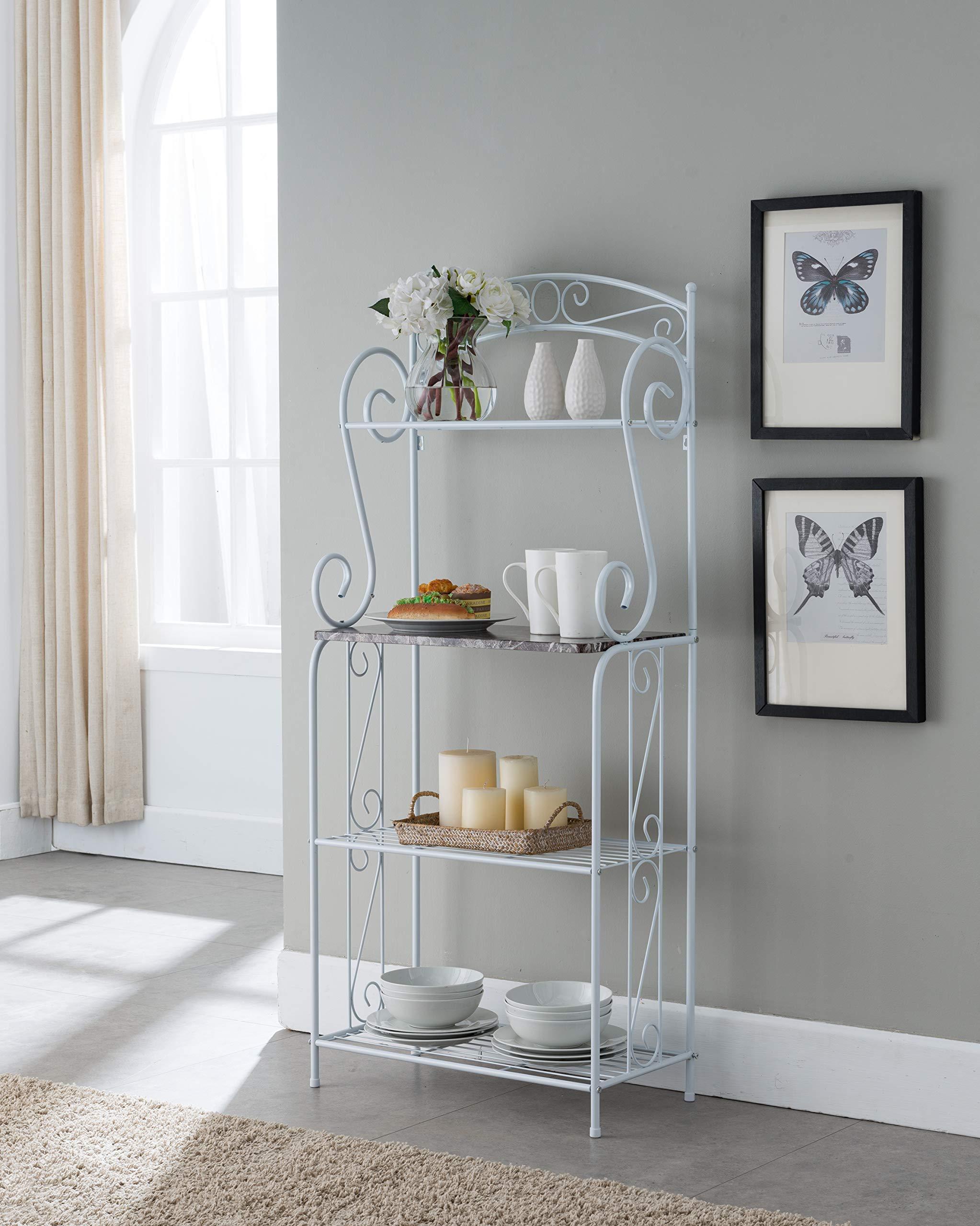 Kings Brand Furniture - Bulberry Metal Kitchen Storage Baker's Rack, White